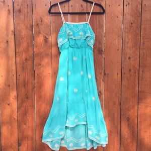 Forever 21 Turquoise Dress Embroidered High Low